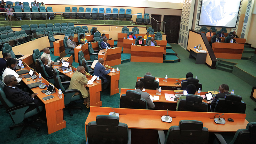 Members of the Senate follow Justice Minister as he addresses them  during the session