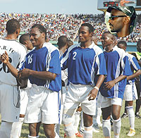 Rayon Sport players shake hands with APR players during a 2007 league encounter. Inset is Eugene Murangwa (File Photo)