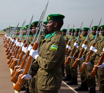 A 2013 RDF cadet class mounts a guard of honour during pass-out.