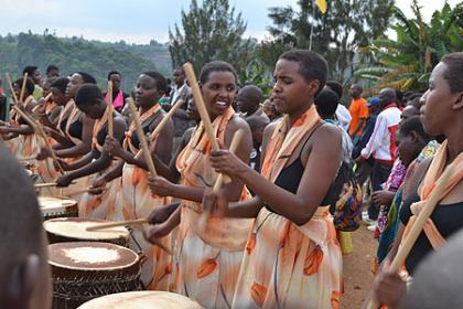 Young school girls joined in celebration at Kibeho Nyaruguru with a rhythmic drum melody.