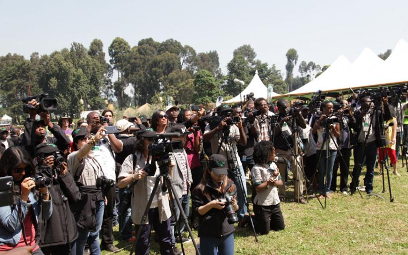 Journalists cover the last Kwita Izina event last July. Local producers need a platform like iROKO to make money off their content. (File)