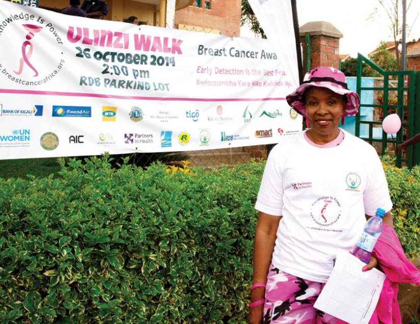 Breast cancer survivor Phillipa Kibugu  during the Ulinzi walk for breast cancer awareness in Kigali.(Doreen Umutesi)
