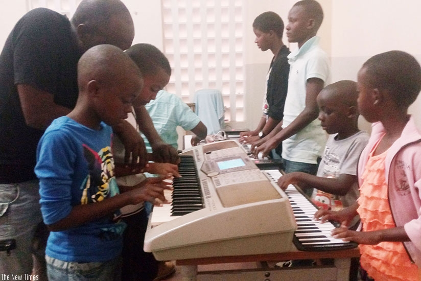 Piano lessons are available at the school. (All photos by R. Niyingize)