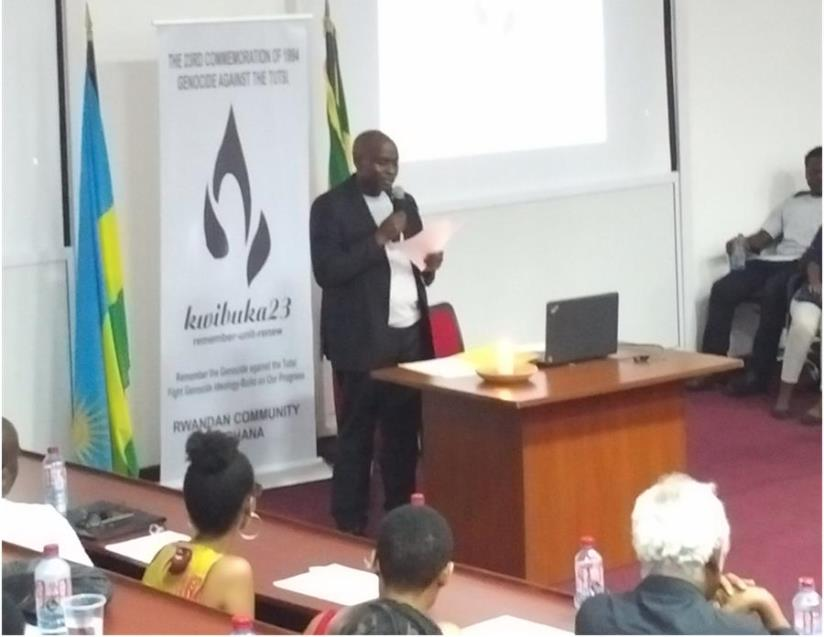 1492083005Bernardin Gatete the leader of the Association of Rwandan Community in Ghana giving his remarks