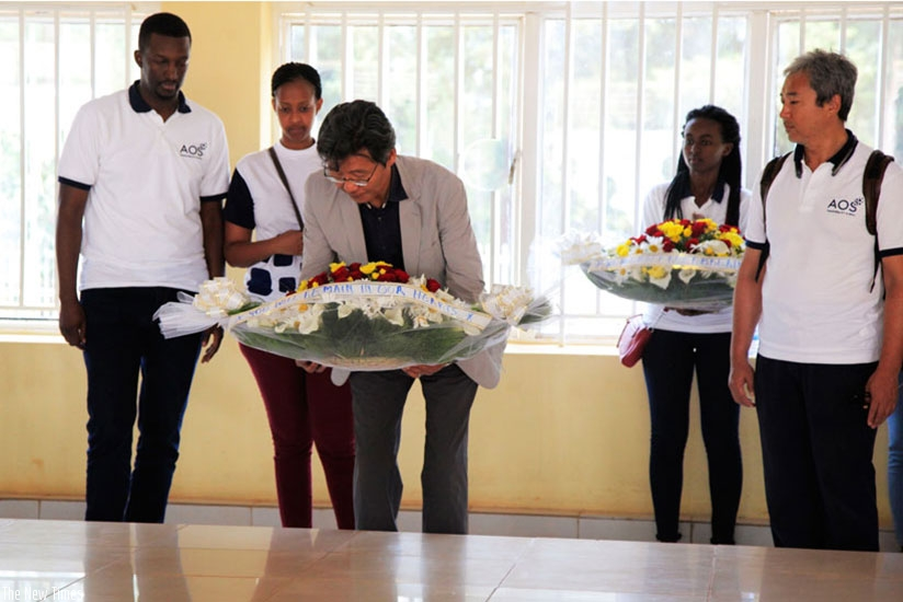 AOS Chief Executive Officer Dae Heak AN lays wreaths at Rukara Genocide memorial on Friday