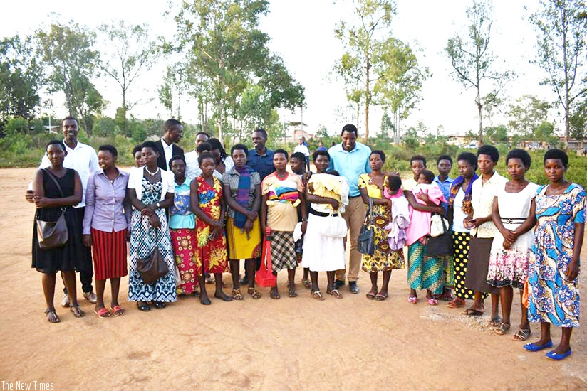 Some of the girls under Ingabire Foundation  with their trainers. Far left is Ingabire. (Photos by Lydia Atieno)