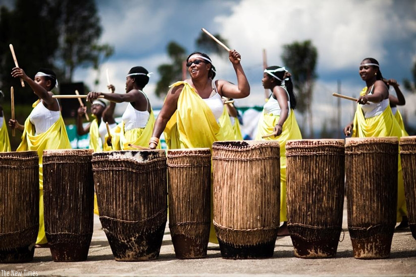 Ingoma Nshya group of female drummers in action. (Photo by Remy Niyingize)