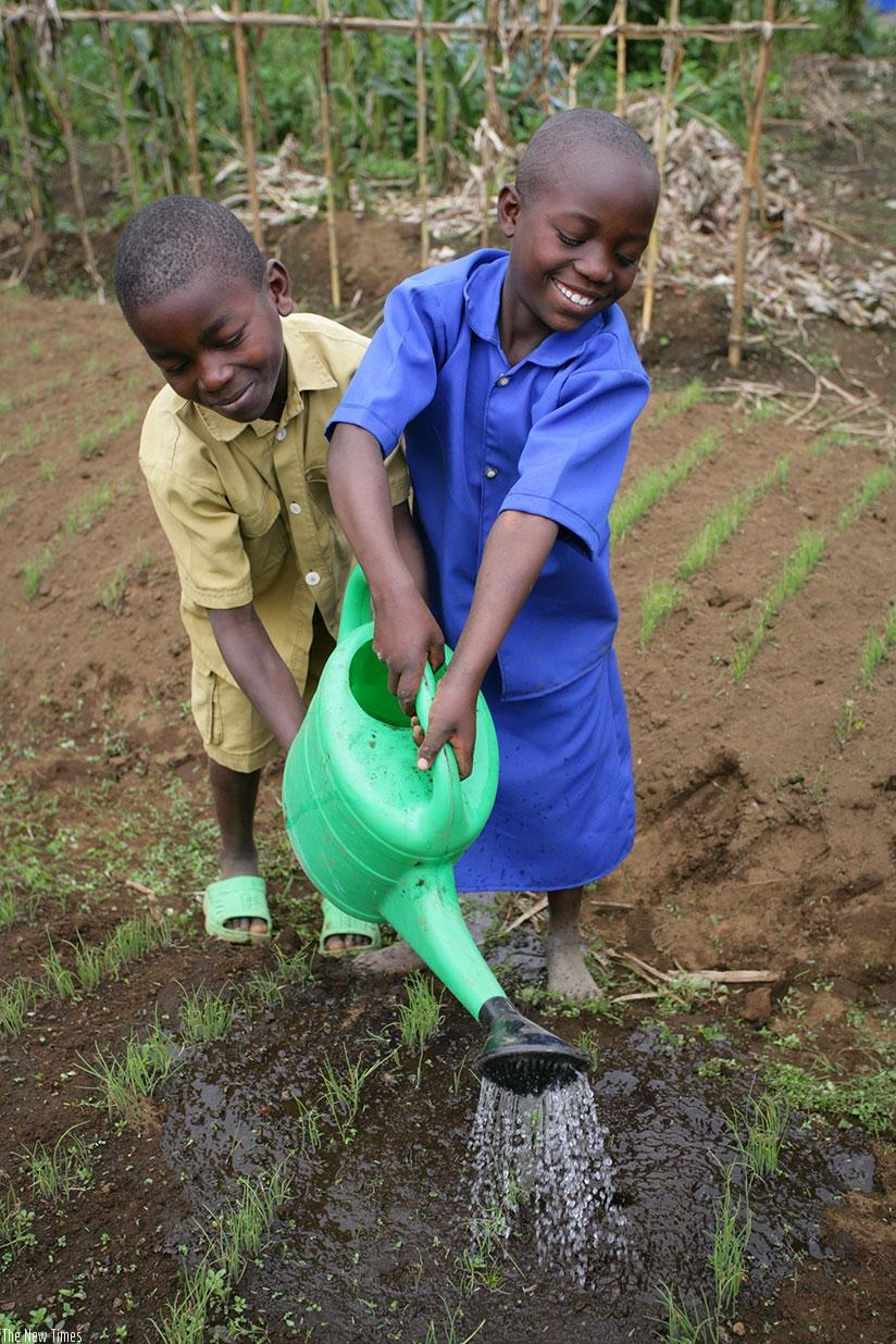 Children watering plants. Sometimes to protect the environment, we have to help plants grow. When our planet is strong, we're strong too!