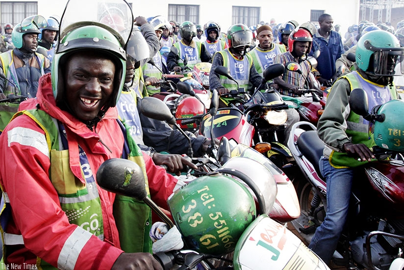 Taxi moto riders during a past meeting in Kigali. (Timothy Kisambira)