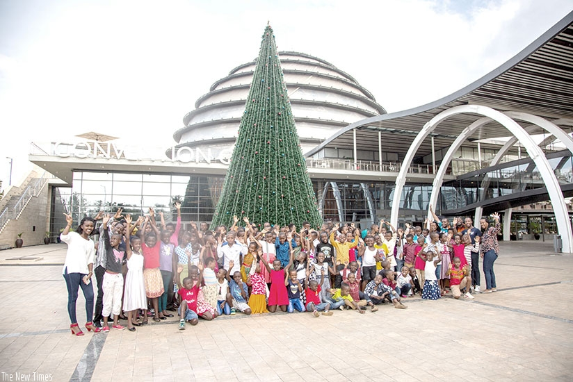 Children pose for a group photo at the Kigali Convention Centre. (All photos by Diane mMushimiyimana.)