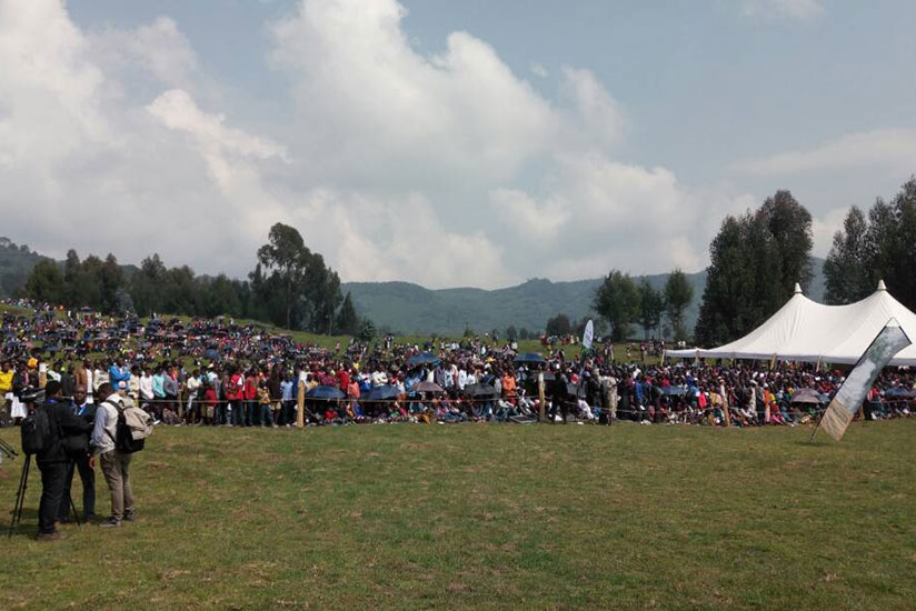 Residents are already at the venue of handover of the land from African Wild Foundation in Kinigi Sector, Musanze District. / Timothy Kisambira