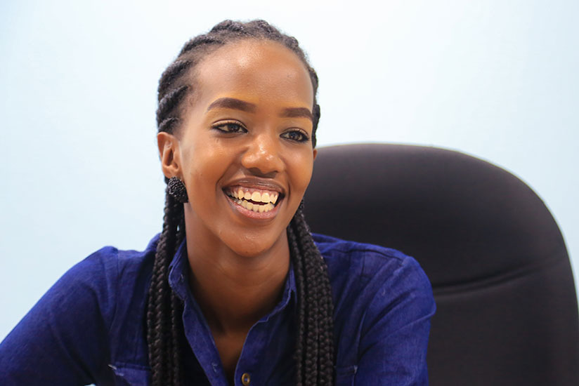 Miss Elsa Iradukunda during an interview at The New Times last Monday. / Faustin Niyigena