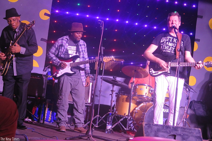 L-R: Mzeei, Mike Safari and Ady Cruse shared the stage at the inaugural Rock & Fresh Kigali show on Saturday./Eddie Nsabimana