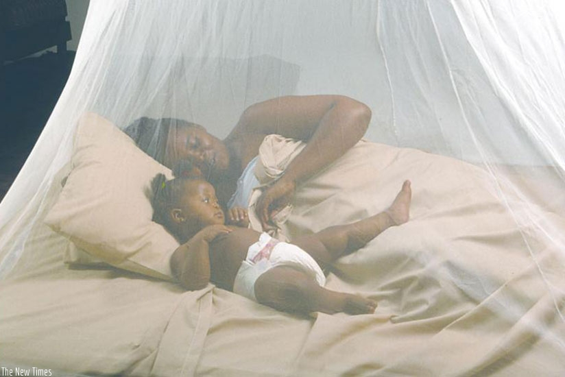 A mother and her child sleep under a mosquito net. File.