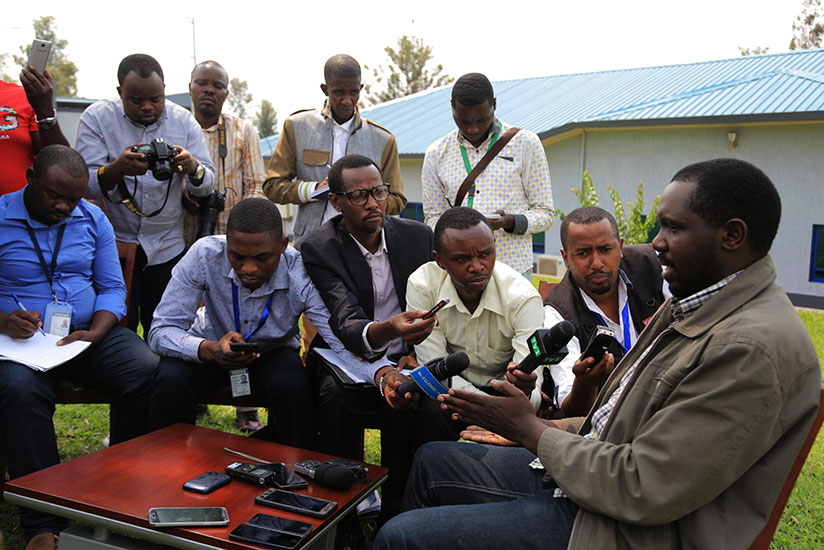 Local journalists during the interview with Emmanuel Cyemayire the Rwandan Businessman who was detained illegally in Uganda