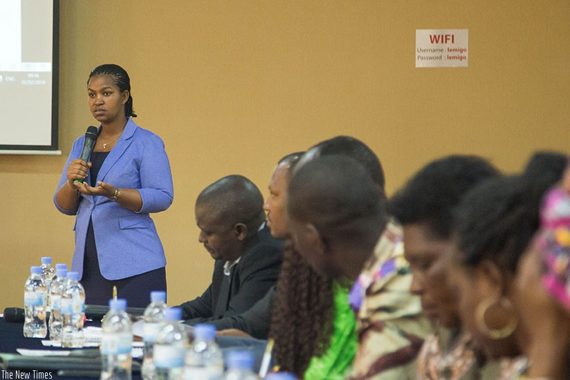 Judith Kazayire, the in charge of service delivery and governance at RGB, speaks during the launch of the campaign, dubbed 'Nk'uwikorera', in CSOs yesterday. Nadege Imbabazi.