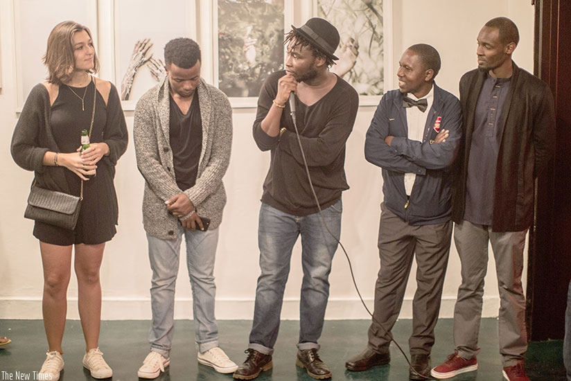 Jacques Nkinzingabo (centre) introduces some of the participating  
