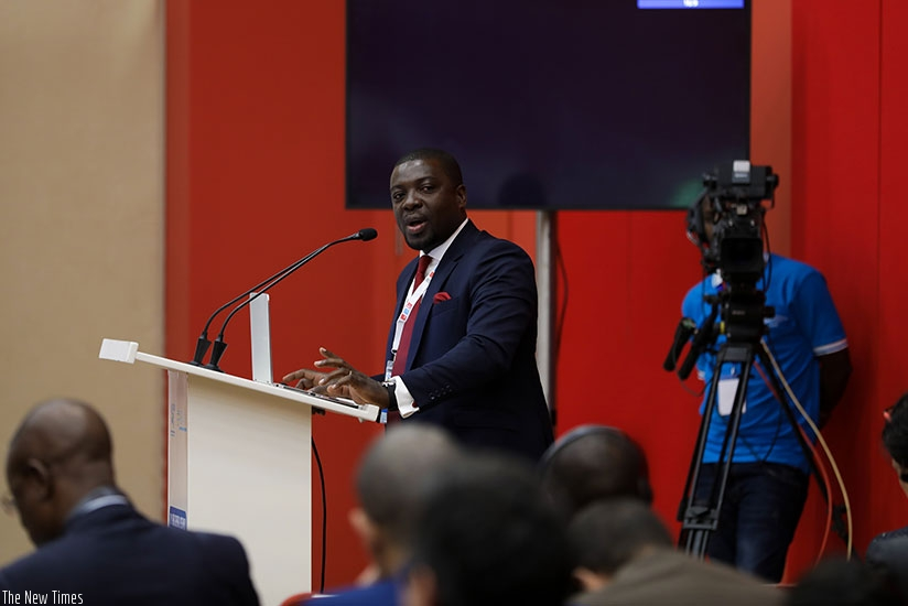 Gnakouri speaks at the African Union of Broadcasting meeting in Kigali. Timothy Kisambira.