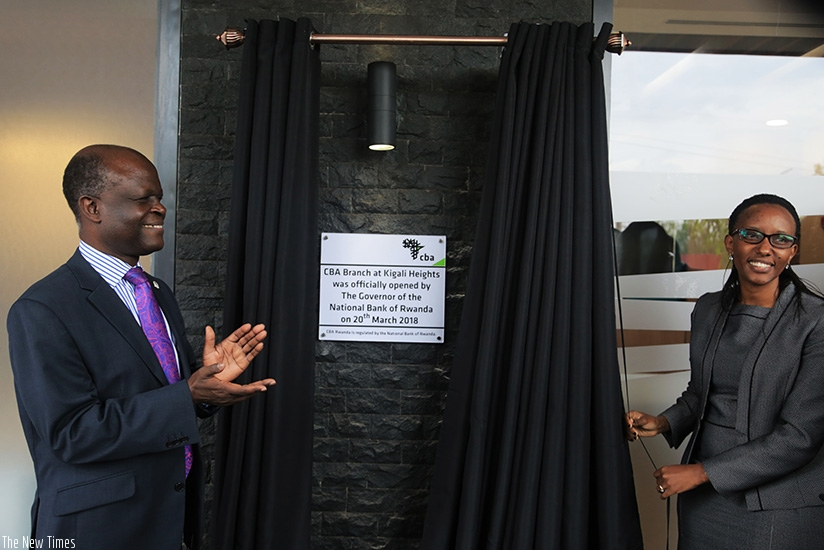 Uwase inaugurates the bank's head offices at Kigali Heights yesterday.  (Photos by Samuel Ngendahimana)
