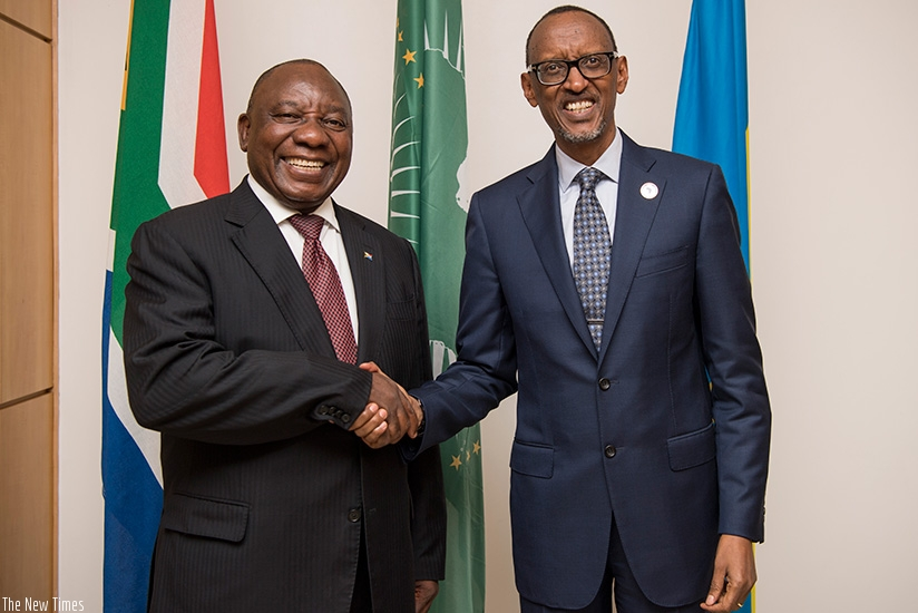 President Kagame receives South Africa's new President Cyril Ramaphosa to Rwanda ahead of the 10th Extraordinary Summit of the African Union Summit scheduled Wednesday. (Village Urugwiro)