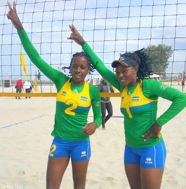 Rwandan beach volleyball queens Mutatsimpundu (left) and Nzayisenga are ranked 332nd in FIVB Women's World ranking. File.