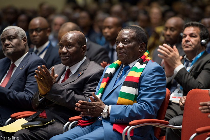 Zimbabwean President Emmerson Mnangagwa (R), together with other leaders during the Business Forum on the Continental Free Trade Area in Kigali last week. Village Urugwiro.