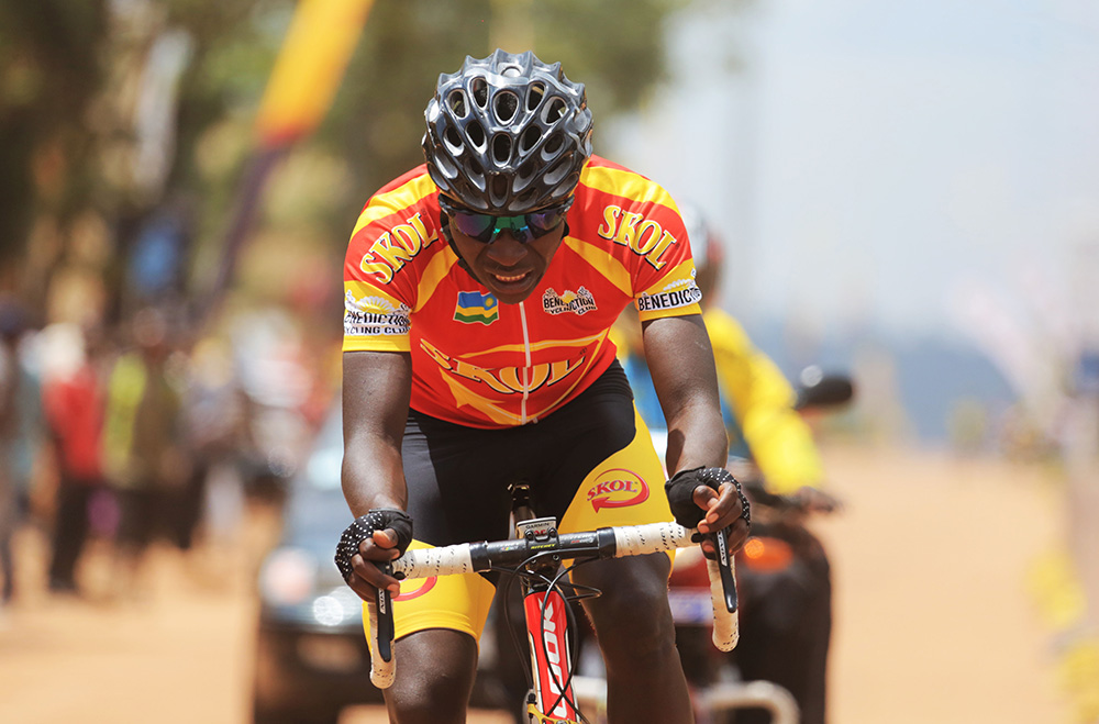 Benediction Club's youngster Didier Munyaneza rides in his solo break away in Saturday's race, is part of the cycling team that will compete in the forthcoming Commonwealth Games. / Sam Ngendahimana