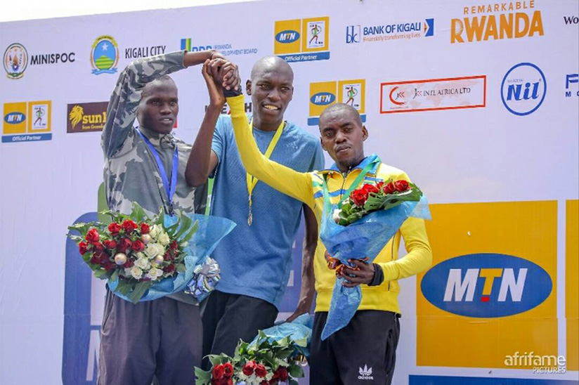 John Hakizimana finished third in Men's Half-Marathon at the 2017 Kigali International Peace Marathon
