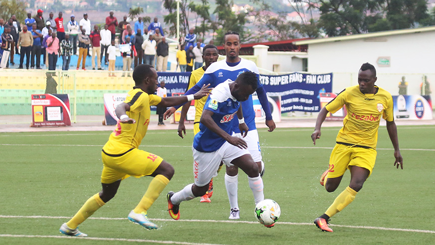Rayon Sports forward Shaban Husein Tchabalala controls the ball during the match. / Sam Ngendahimana