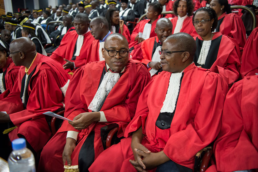 Supreme court judges at a Judicial Year launch at parliament in the past.