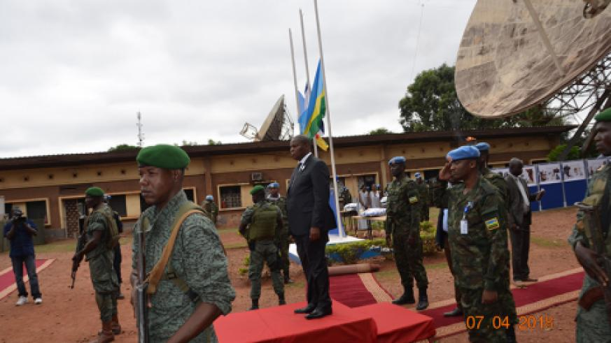 President Faustin Archange Touadera of CAR observing joining Rwandan peacekeepers to remember. / Courtesy