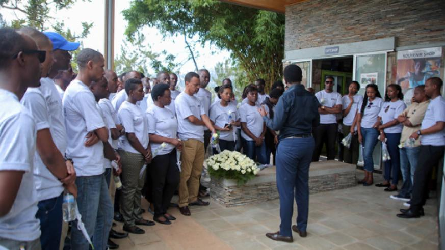 Park Inn staff being briefed before starting the visit at Kigali Genocide Memorial.