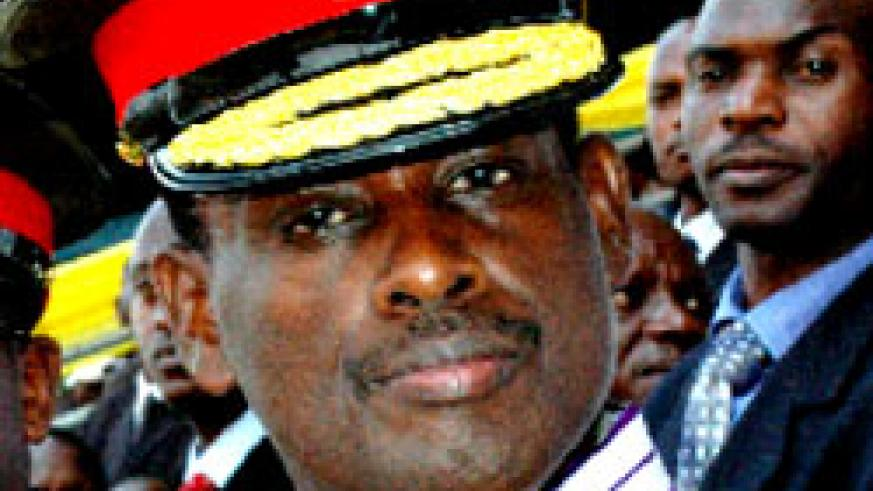 The incarcerated General Kaka wearing a war heroes medal he was awarded on July 4. (File photo)
