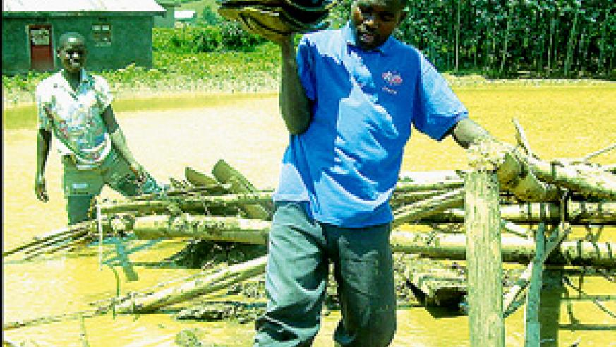 A man recovering roofing materials from a house submerged by floods in Bigogwe Sector, Rubavu District, Northern Province. The death toll has risen to seventeen.  (Photo / M. Mazimpaka)