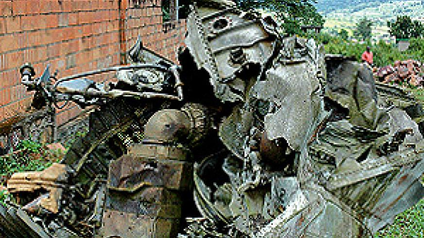 The wreckage of Falcon 50, in which Habyarimana died on April 6, 1994, at the crash scene near Kigali International Airport. (Photo/Magnus Mazimpaka)