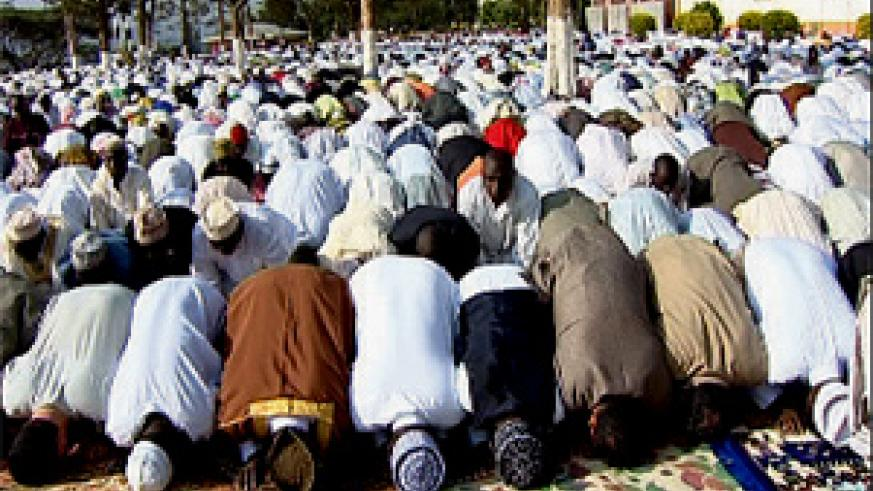 Muslims during yesterday's Idd El Fitr prayers at the Islamic Cultural Centre in Nyamirambo.