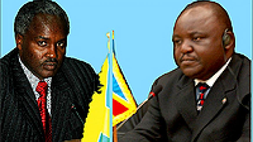 A graphic illustration of Foreign Minister Dr Charles Murigande (left) and his Congolese counterpart, Antipas Mbusa Nyamwisi