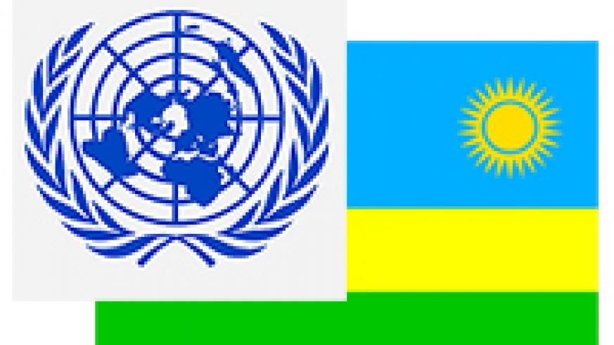Graphic illustration of the United Nation's logo and the republic of Rwanda flag