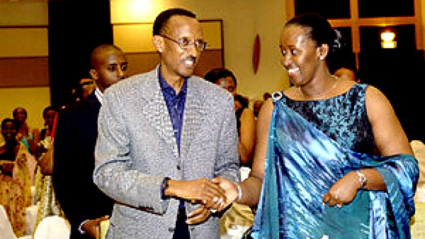 President Kagame congratulating the First Lady after she had finished handing out the awards at Kigali Serena Hotel. (PPU photo)