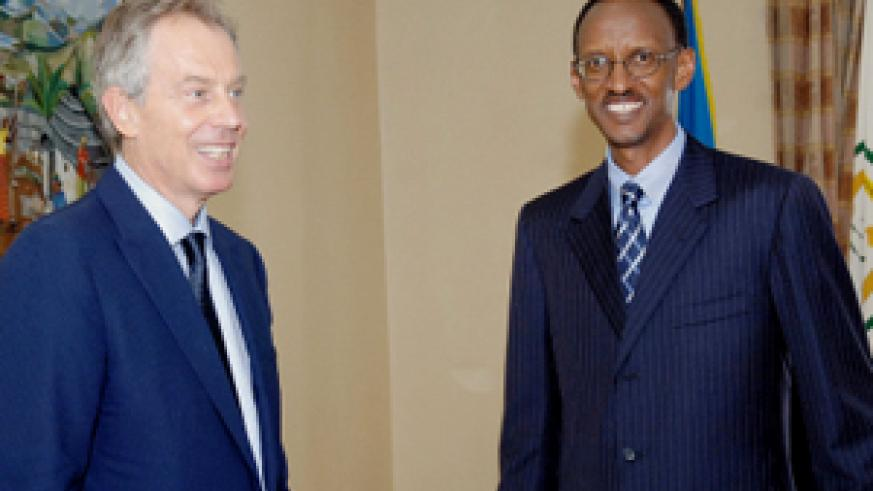 President Kagame and his new advisor former UK premier Blair at Village Urugwiro yesterday. (PPU photo)