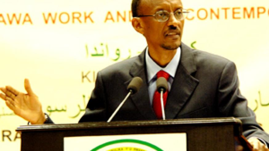 President Kagame addressing the tenth congress of the Union of Muslim Councils for Eastern, Central and Southern Africa at Prime Holdings Conference Centre, Kimihurura, yesterday. (PPU photo)