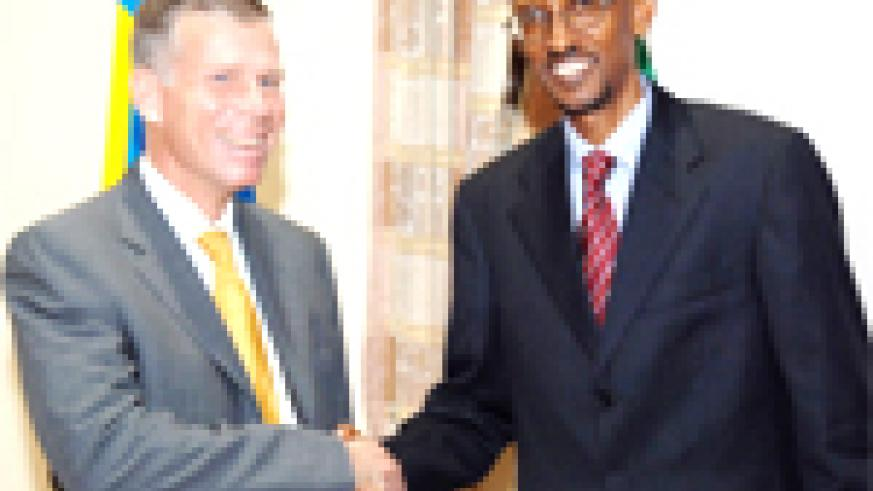 President Kagame and Mr Anders Nordstrom, Director General of the Swedish International Development Agency, after their meeting at Urugwiro Village yesterday. (PPU photo)