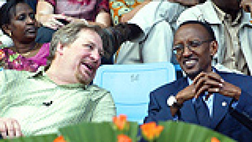 President Kagame and Pastor Warren at the launch of  'Forty Days of purpose' at Amahoro National Stadium. (Photo / G. Barya)