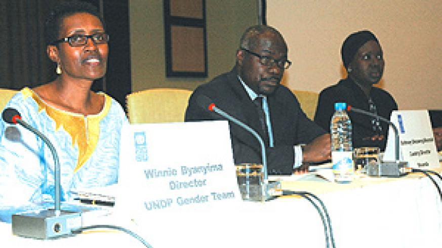 Winnie Byanyima,UNDP Director,(L), with Anthony Kwaku Ohemeng –Moamah UNDP Country Director (C), and Dian L. Opar,  UNDP Gender Advisor to the Director Regional Bureau for Africa (R)at the UNDP 2008 Gender Equality Retreat at Serena Hotel yesterday.(P.Bar