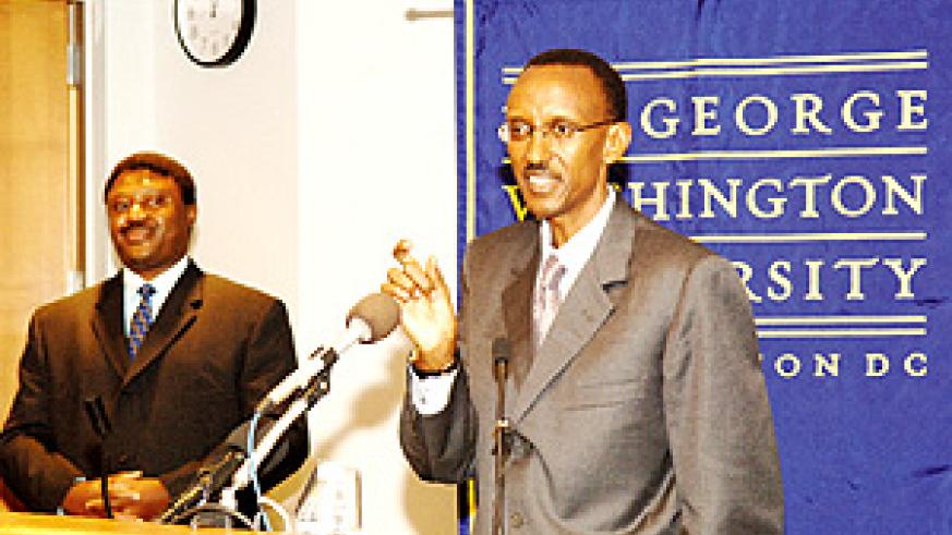President Paul Kagame pictured during a previous visit to George Washington University. The President gave the Keynote address at the Summit of Higher Education in Washington DC Tuesday. (File photo).