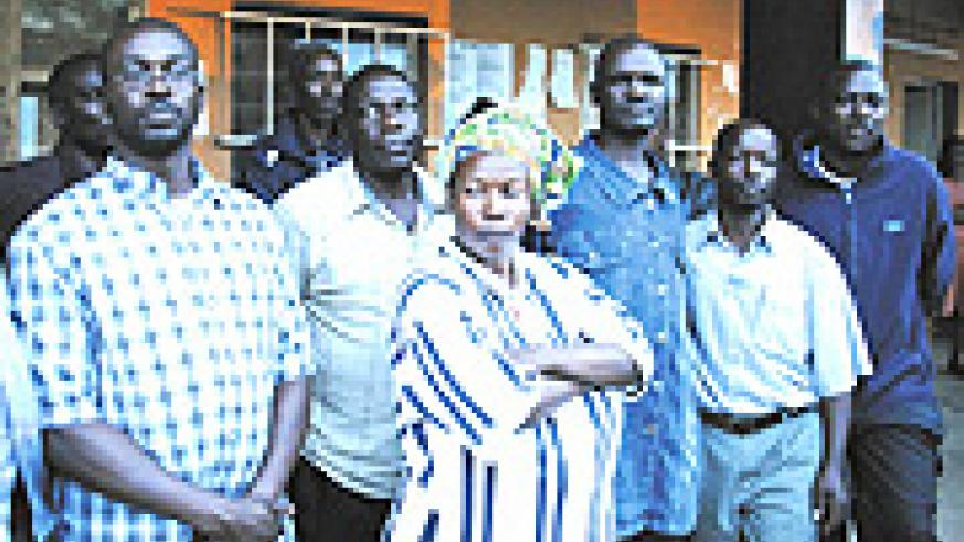 Some of the suspects after emerging from an interrogation session at Nyarugenge Prosecution offices last evening. (Photo/ E. Mucunguzi).