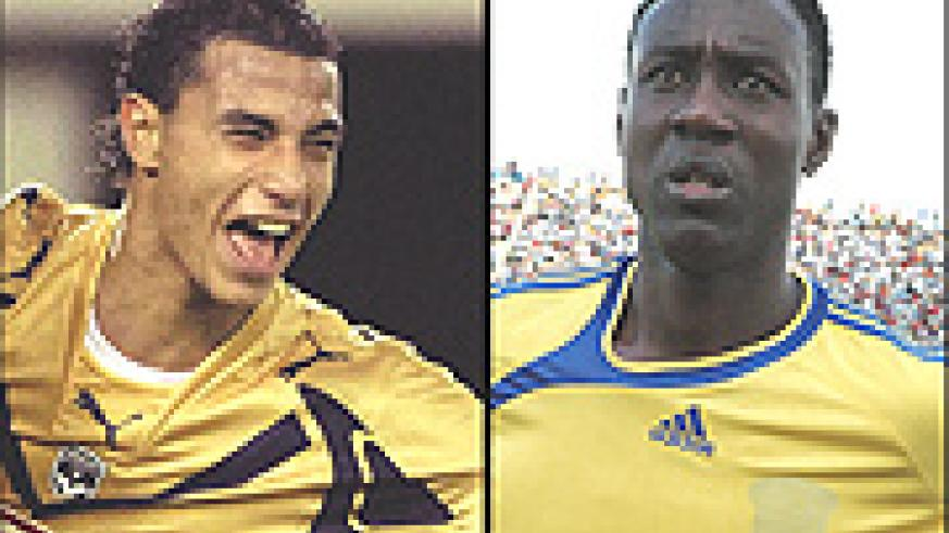 MISSING FOR Morocco: Marouane Chamakh (L) and Rwanda's captain:  Olivier Karekezi (R).