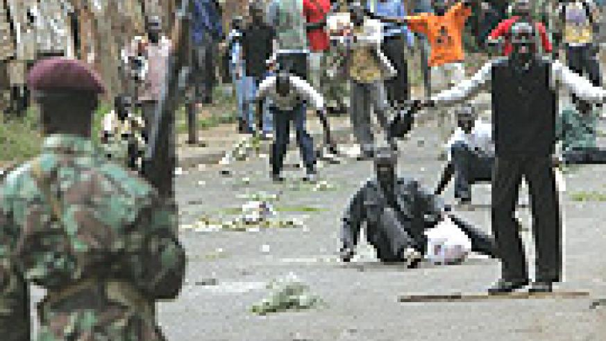 Kenyan police battle rioters in Nairobi streets.