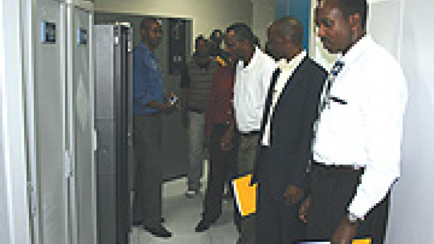 Journalists from different media houses on a guided tour of MTN facilities at the telecom company's head office in Nyarutarama on Monday. (Courtesy photo).