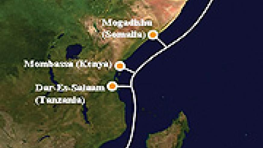 East African coast where the EASSy cable is to be connected (Net map)